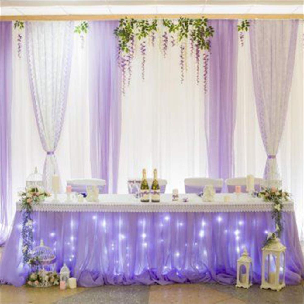 B-COOL Lovely Light purple Tulle Tutu Table Skirt 4.5 yards Tulle Table Cloth Skirt Customized Romantic Girl Princess Birthday Party Table Skirts Banquet Table Decorations(L14(ft) H 30in) by B-COOL (Image #3)