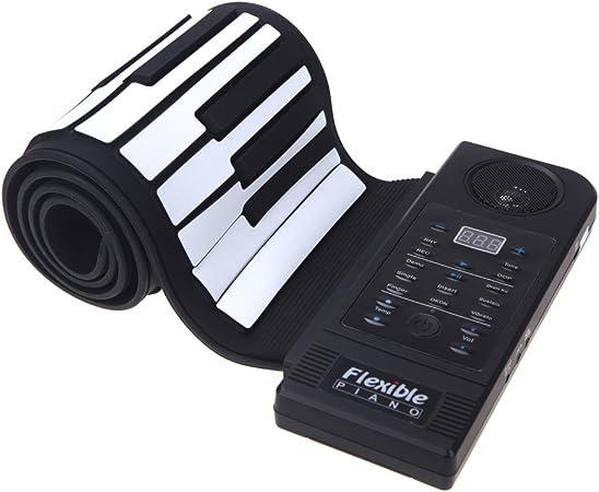 ammoon 61 Tecla Teclado de Piano Electrónico Silicio Flexible Rueda para Arriba Piano Función de Sostenido Puerto USB con Altavoz