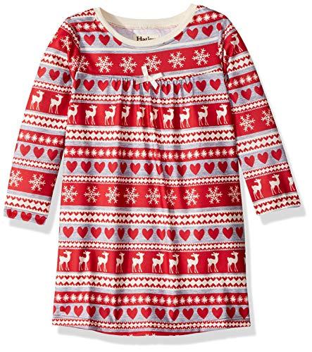 Hatley Girls' Big Long Sleeve Nightgowns, fair isle Deer, 7 Years