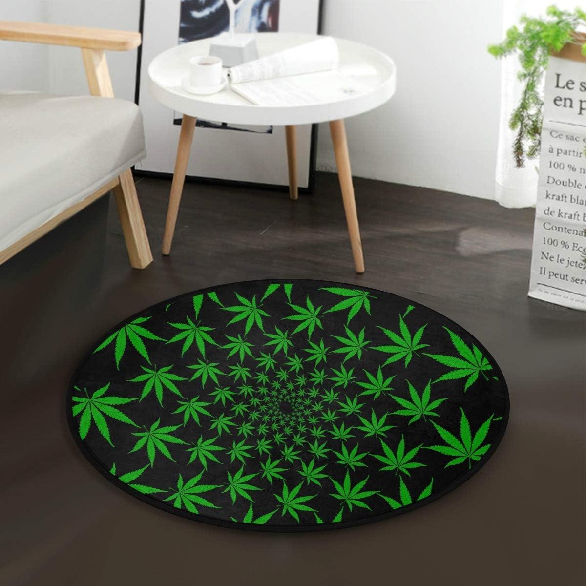 W-WEE Marihuana Cannabis Green Black Leaves Alfombra Redonda para Sala de Estar Dormitorio