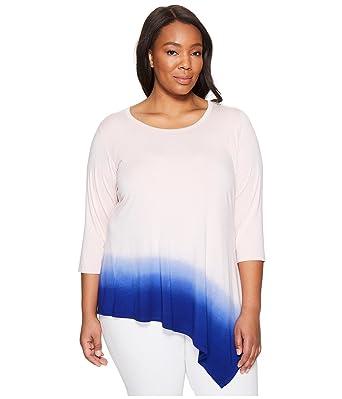 f8cd5c9a67d Karen Kane Plus Women's Plus Size Angle Hem Ombre Top Shell Shirt at Amazon  Women's Clothing store: