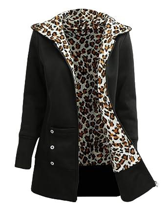 Women's Clothing Romacci Women's Zip Up Casual Hoodie Leopard Fleece lined Sweatshirt Jacket