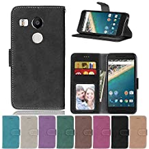 Nexus 5X Flip Case, Nexus 5X case, Nexus 5X Case Cover,YiLin PU Leather Flip Folio Wallet Case Cover for Google Nexus 5X - BLACK