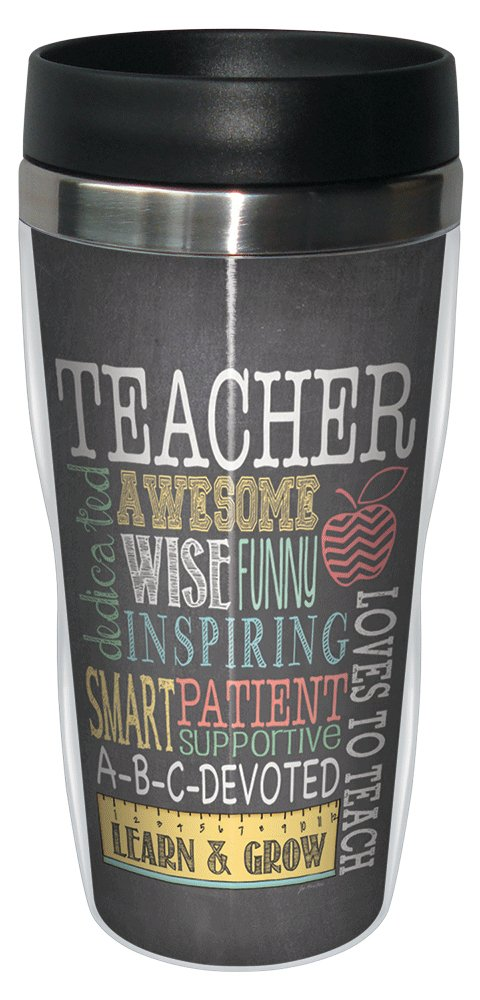 Tree-Free Greetings 78220 Jo Moulton Awesome Teacher Travel Mug, Stainless Lined Coffee Tumbler, 16-Ounce - Gift for Teacher Appreciation Week