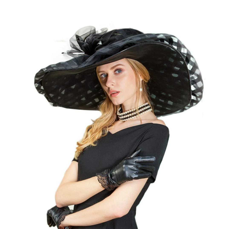 Fascinators for Women Large Wide Brim Flower Fedoras Church Tea Party Organza Kentucky Derby Hats Black