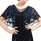 BABEYOND 1920s Shawl Wraps Beaded Evening Cape Bridal Shawl Flapper Cover Up (Black Blue)