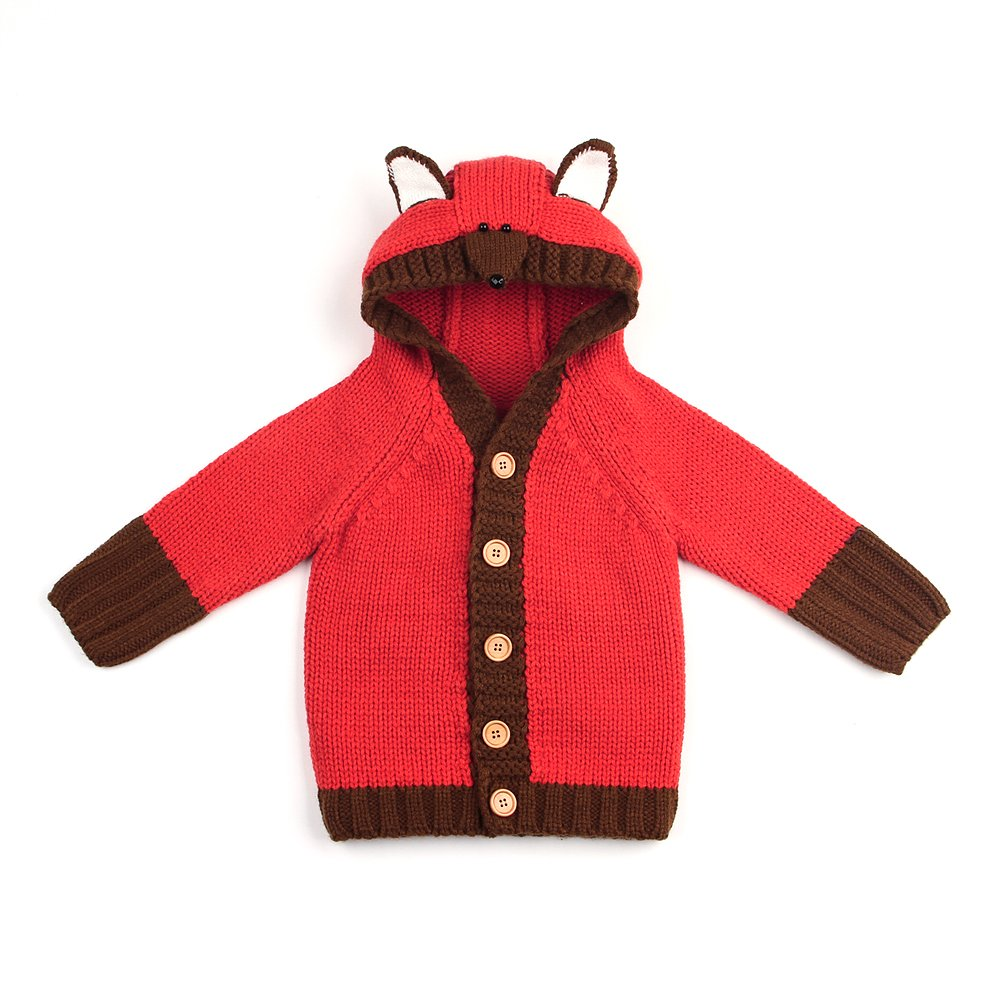 72b393021 Baby Sweater Knit Cardigan Coat Fox Funny Hoodie(Red+Brown