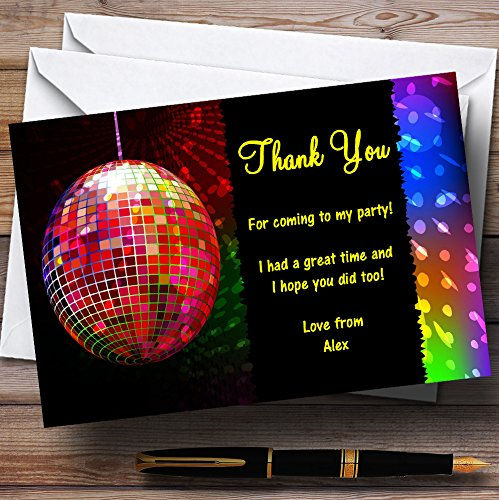 Disco Ball And Lights Personalized Party Thank You Cards (Disco Party Invites)