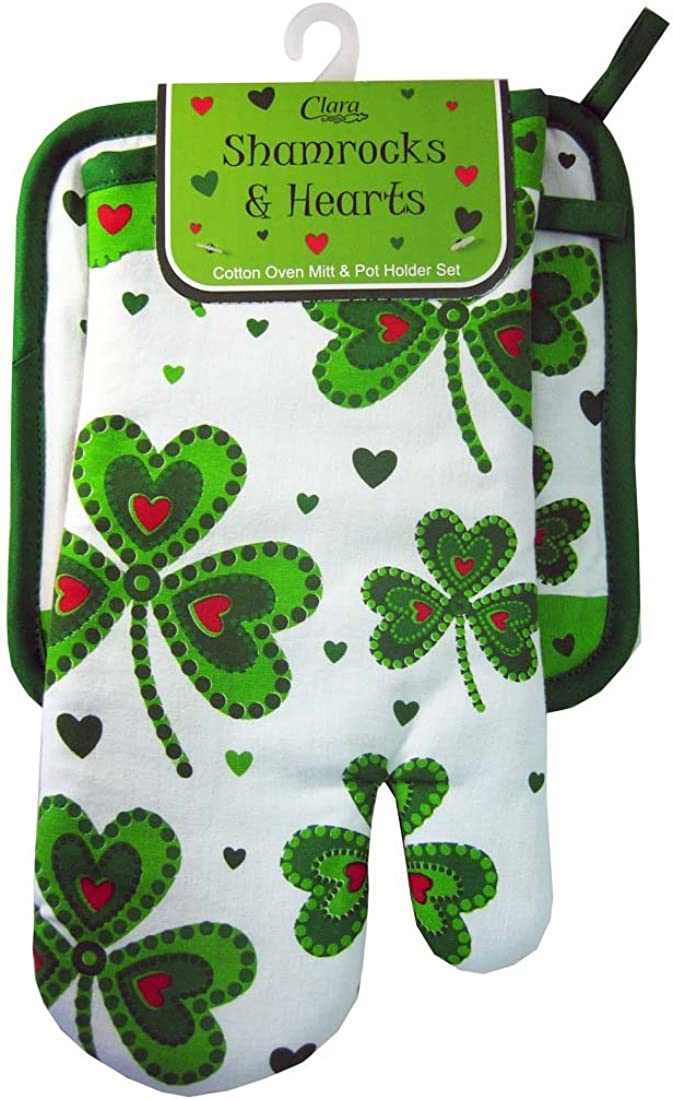 Royal Tara Oven Mitt & Pot Holder-Shamrocks and Hearts
