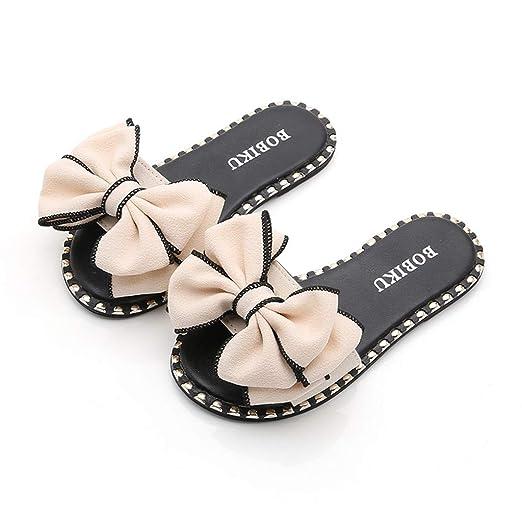 ccb05da2bd112 Amazon.com: Riverdalin Kids Baby Girls Summer Slippers Bowknot Floor ...