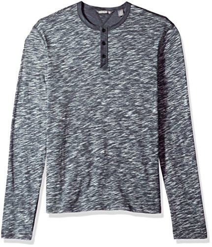 Michael Bastian Men's Long Sleeve slub Reverse Printed Henley Polo, Dark Gray, Medium from Michael Bastian