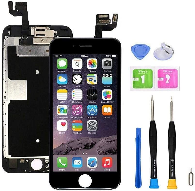 Screen Replacement Compatible with iPhone 6s Plus Full Assembly - LCD 3D Touch Display Digitizer with Sensors and Front Camera, Fit Compatible with iPhone 6s Plus-Black