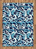 Japanese Wave Area Rug by Ambesonne, Traditional Eastern Pattern with Waves of Water Foam Splashes, Flat Woven Accent Rug for Living Room Bedroom Dining Room, 5.2 x 7.5 FT, Pale Blue Navy Blue White