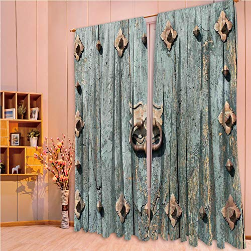 ZHICASSIESOPHIER Modern Style Room Darkening Blackout Window Treatment Curtain Valance for Kitchen/Living Room/Bedroom/Laundry,Rusty Old Door Knocker Gothic Medieval Times 108Wx84L Inch