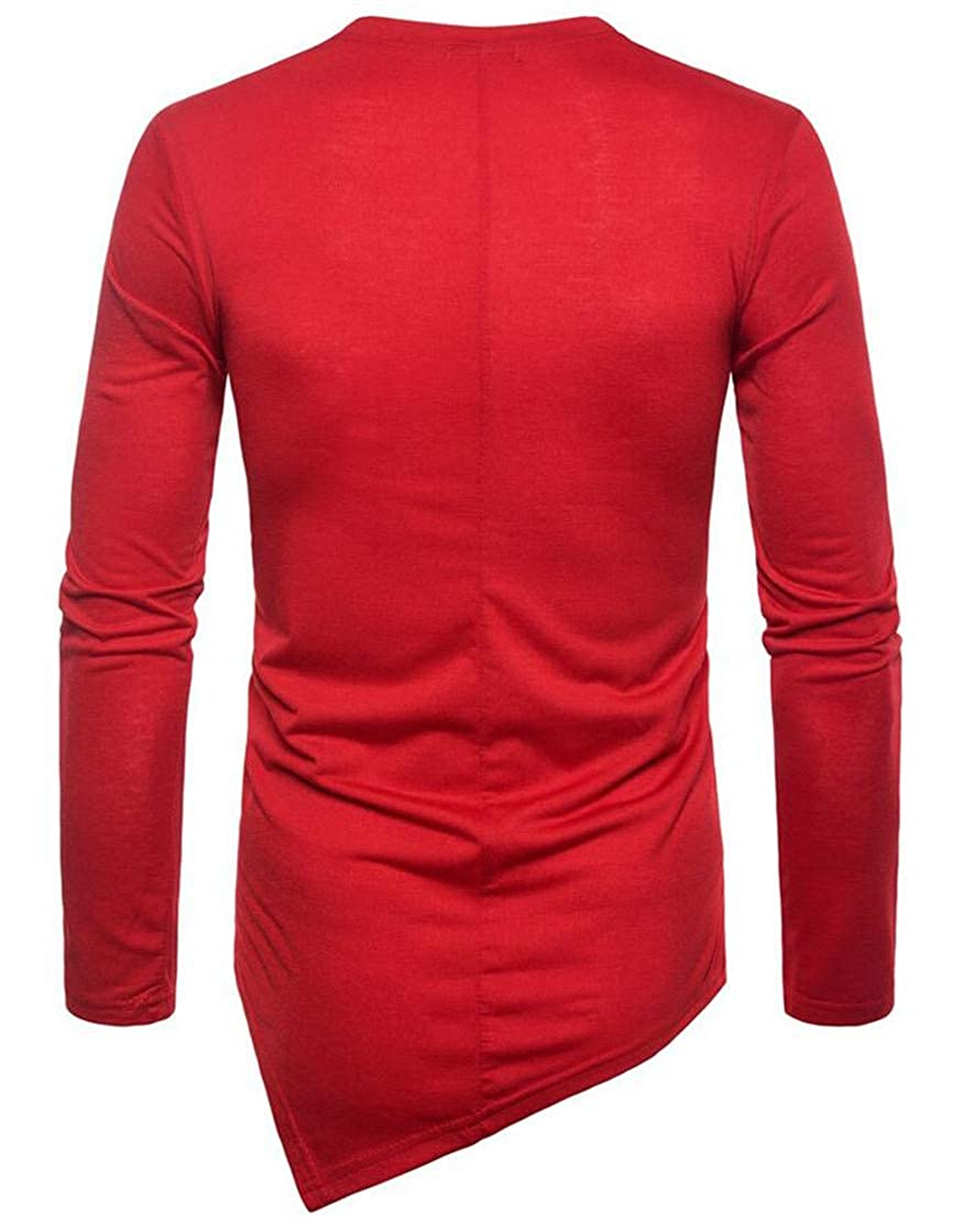 Zantt Mens Irregular Long Sleeve PulloverStylish Fall Hip-hop T-Shirts Tops