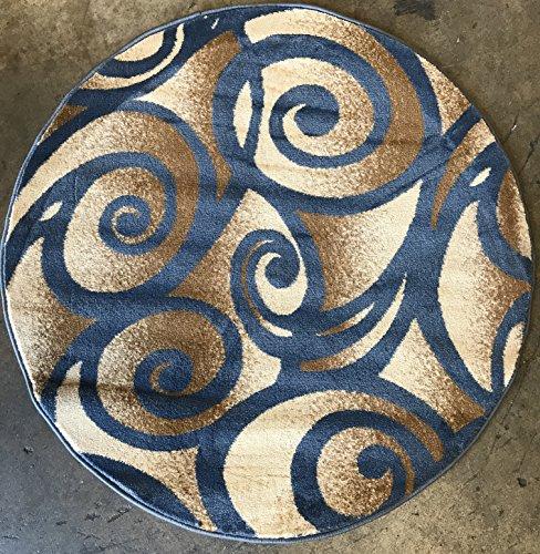 - Bellagio Modern Round Contemporary Area Rug Light Blue Swirl Design 341 (4 Feet X4 Feet Round)