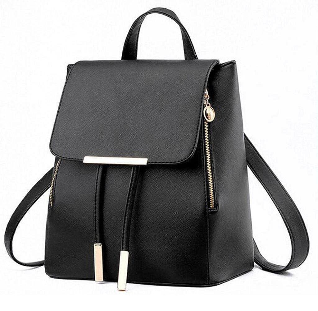Amazon.com: Motop For Women Leather Backpacks Schoolbags Travel Shoulder Bag Mochila Feminina (Black): Clothing