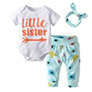 Isugar Baby Girls Short Sleeve Little Sister Bodysuit Tops Floral Pants Headband Clothes Outfits Set (9-12 Months)