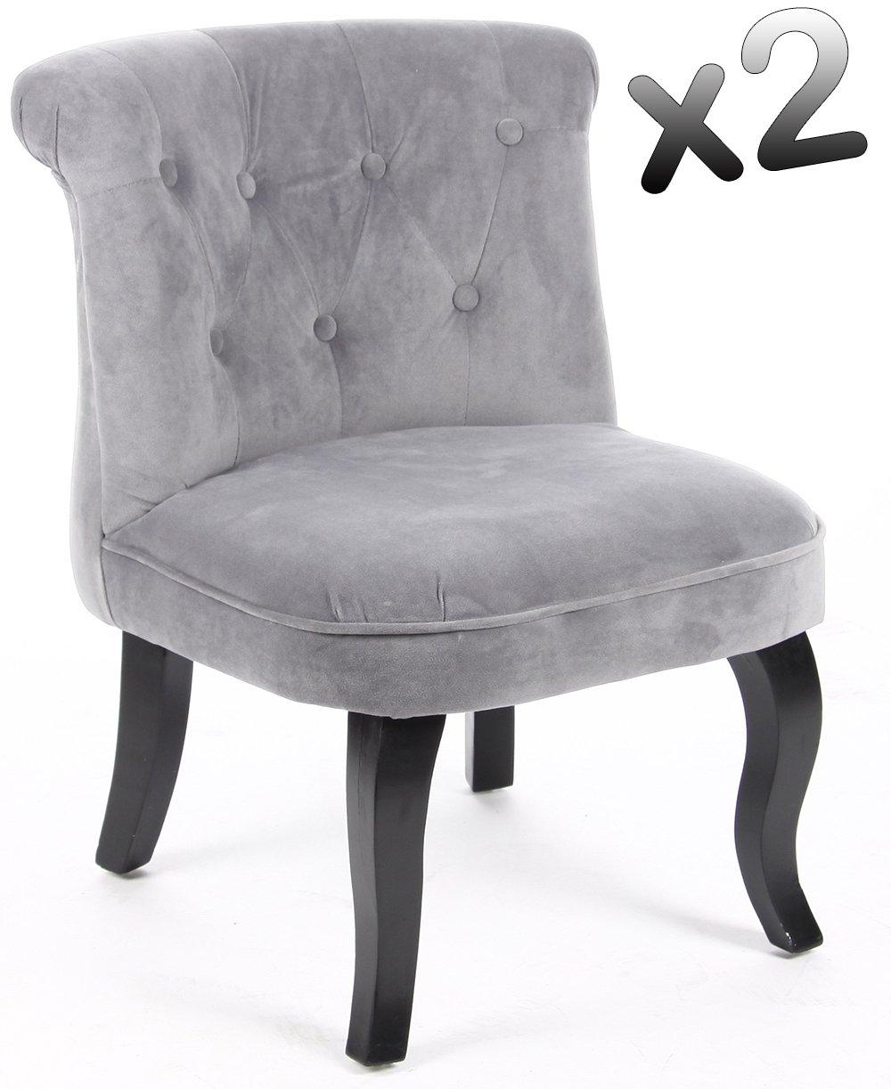 PEGANE Lote de 2 sillones Sapo Terciopelo Gris, H63 x P57 X ...