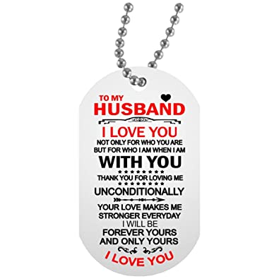 To My Husband I Love You Necklace Chain Love You Quotes Dog Tag