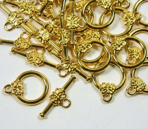 Gold Toggle Jewelry (19 Gold Plated Brass Jewelry Toggle Clasps 14mm Flower Design Jewelry Findings)