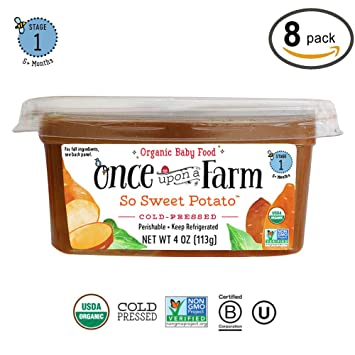 Once Upon A Farm Organic Stage 1 | Baby Food So Sweet Potato Cups | Cold  Pressed |