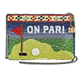 MARY FRANCES Par-Tee Golf Themed Beaded/Embroidered Top Zipper Crossbody Handbag