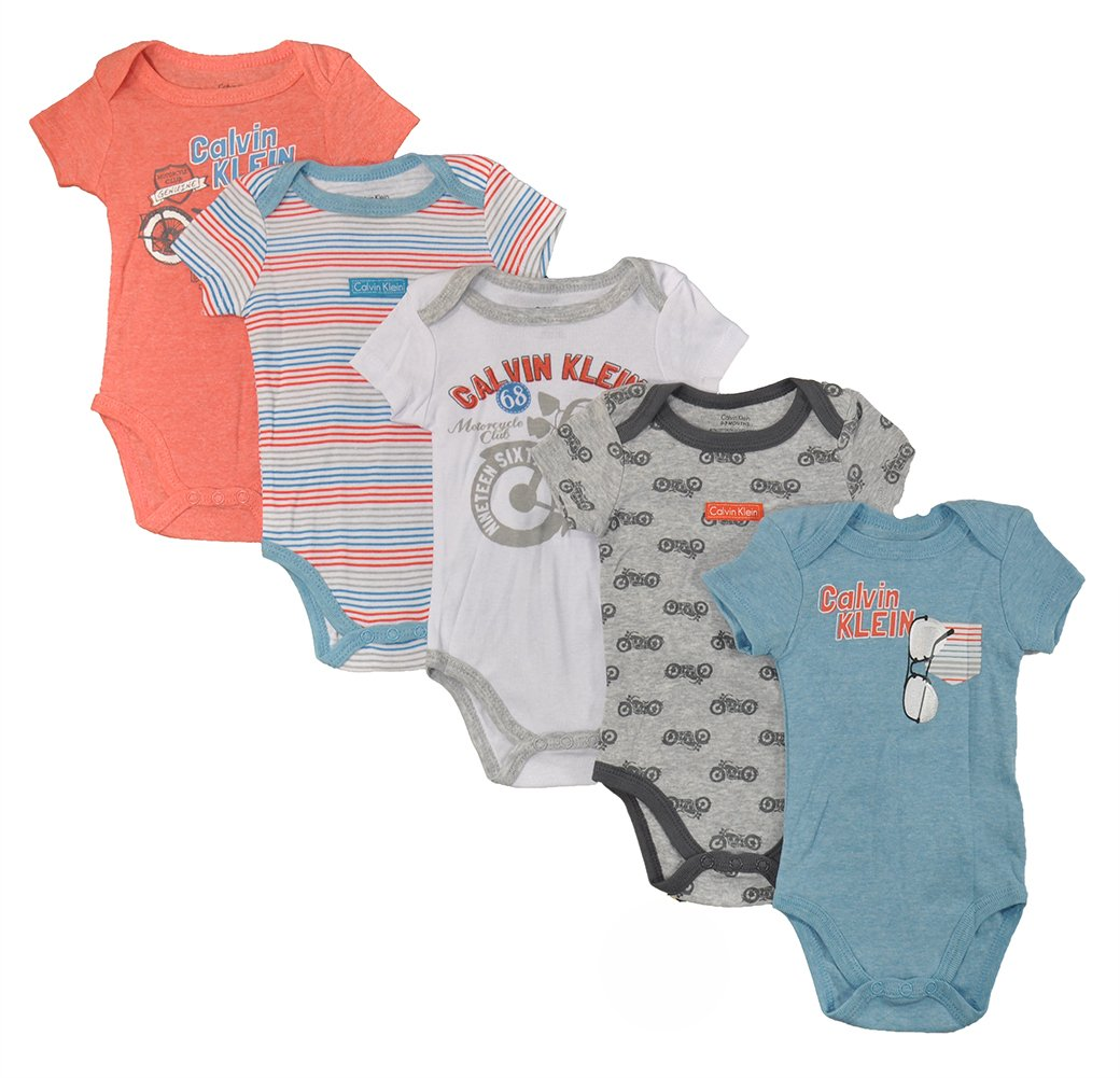 d50d8df45 Galleon - Calvin Klein Baby Boys' Assorted Short Sleeve Bodysuit, Coral/Blue/Motorcyle,  0-3 Months (Pack Of 5)