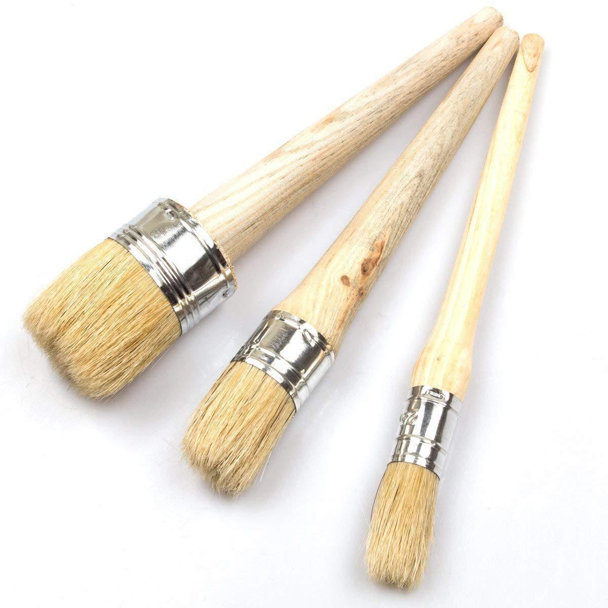 3-teiliges Pinsel-Set fü r Farben und Wachs von LANIAKEA, natü rliche Borsten, runde Pinsel fü r Mö bel, Heimdekoration, Wachsen, Lasieren von Tö pferwaren (20, 30 und 50 mm)