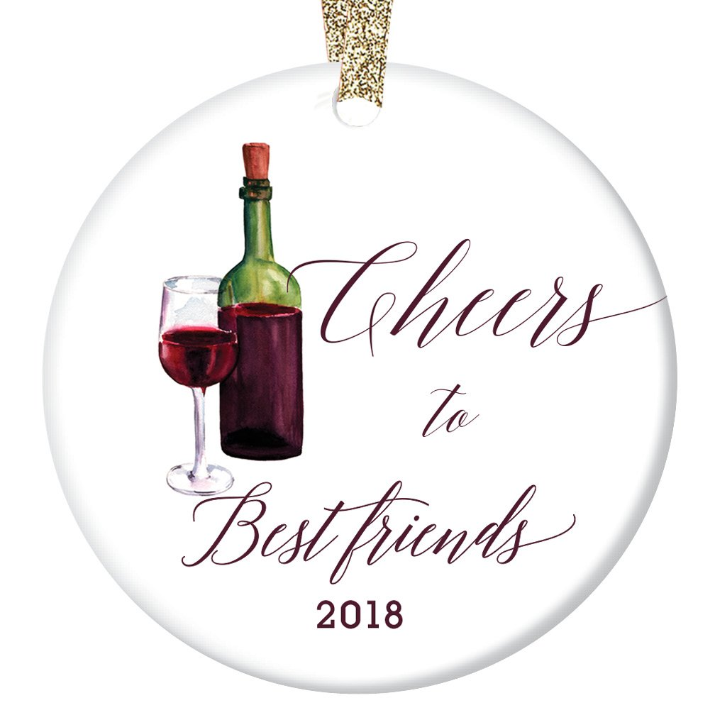 Cheers to Best Friends Ornament, Wine Porcelain Ceramic Ornament, Best Friends 2018 Ornament, 3' Flat Circle Christmas Ornament with Glossy Glaze, Gold Ribbon & Free Gift Box | OR00091 Amber 3 Flat Circle Christmas Ornament with Glossy Glaze