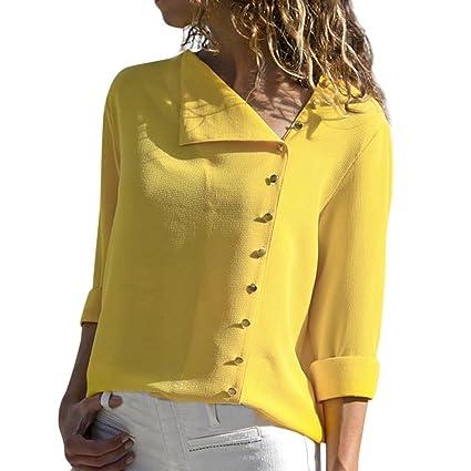 Zarupeng Botón de Las Mujeres Diagonal Cuello Solapa Cuello Camiseta Manga Larga Hebilla Blusa Tops: Amazon.es: Ropa y accesorios