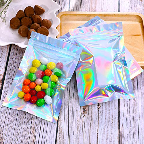 100 Pieces Resealable Smell Proof Bags Foil Pouch Bag Flat Ziplock Bag for Party Favor Food Storage (Holographic Color, 3 x 4 Inch and 4 x 6 Inch)