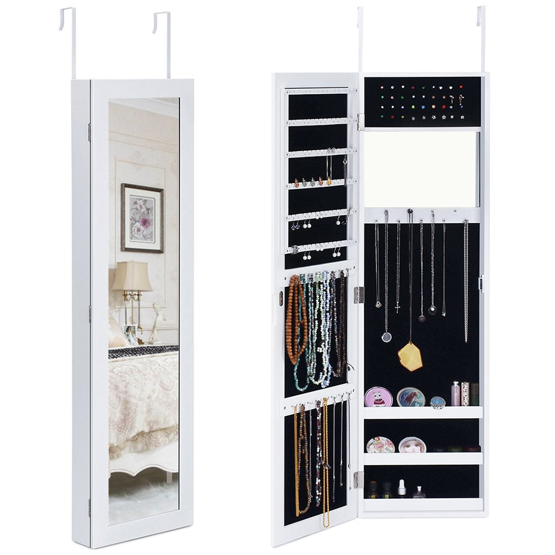 Kingbird Space Saving Mirror Jewelry Cabinet Armoire Wall Door Mounted Lockable Jewelry Holder Organizer for Rings, Necklaces, Earrings, Bracelets and Makeup (White)