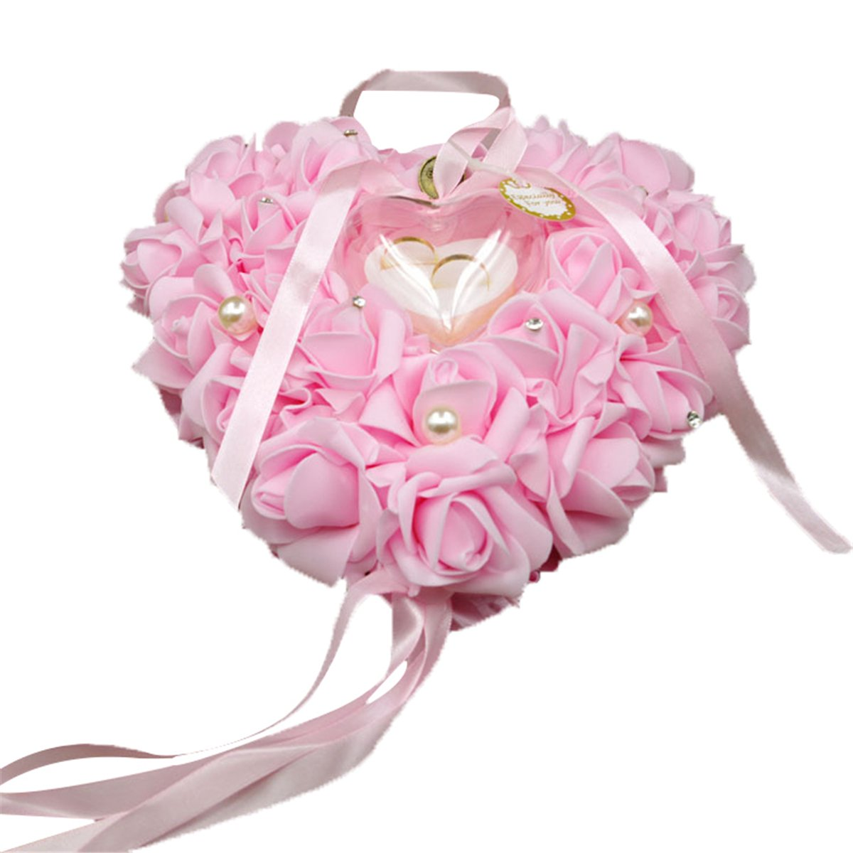 Wedding Ring Pillow, Funpa Heart Ring Pillow Romantic Hanging Rose Heart Party Favor for Wedding