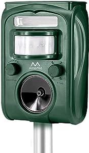 AMERFIST Solar Animal Repeller, 2021 Ultrasonic Mole Repellent, Rat, Squirrel, Deer, Raccoon, Skunk, Rabbit, Mole, Dog, Cat, Waterproof with Motion Detector, USB Rechargeable, Flashing Light (Green)