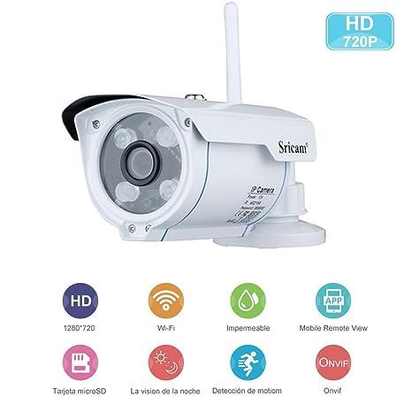 Sricam Cámaras de Vigilancia Wifi con Visión Nocturna,HD 720P P2P IP66 Detección de Movimiento IP CCTV Camara Seguridad Interior/Exterior para el ...