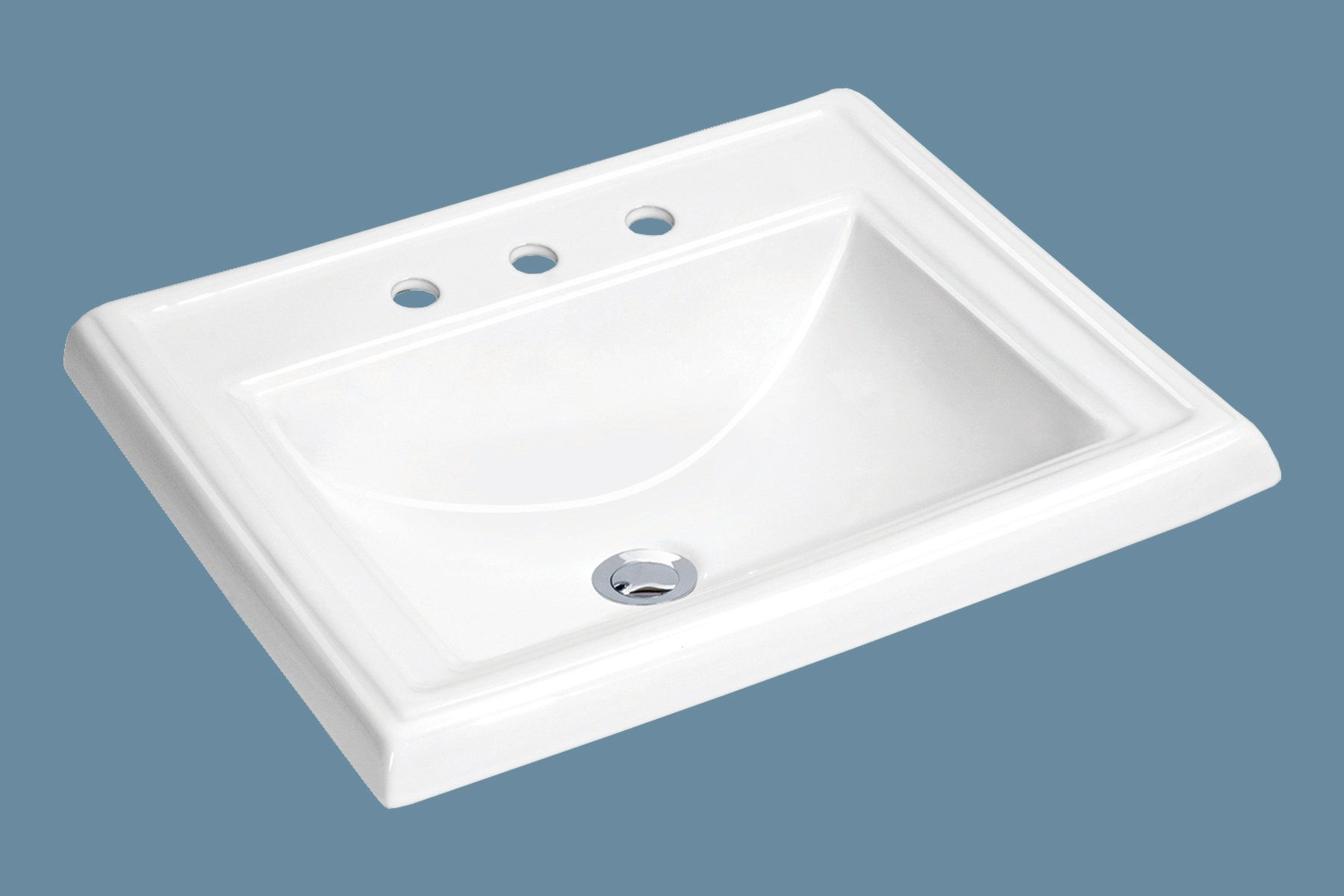 MSCBDP-2318-3W 23'' x 18-1/4'' White Rectangular Porcelain Drop-In Top Mount Bathroom Sink by Magnus Sinks (Image #1)