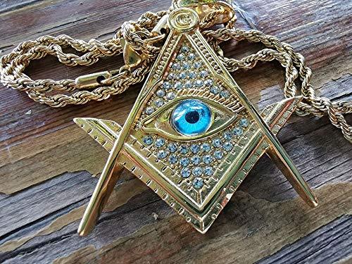 Hip Hop Rock CZ Zircon Paved Gold Color Stainless Steel Illuminati Eye Freemason Masonic Pendant Necklaces for Men Jewelry