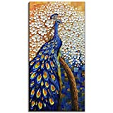 Yotree Paintings, 24x48 Inch Paintings Peacock with Tree Oil Hand Painting Painting 3D Hand-Painted On Canvas Abstract Artwork Art Wood Inside Framed Hanging Wall Decoration Abstract Painting