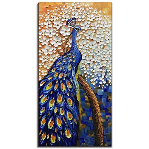 Yotree Paintings, 24x48 Inch Paintings Peacock with Tree Oil Hand Painting Painting 3D Hand-Painted On Canvas Abstract Artwork Art Wood Inside Framed Hanging Wall Decoration Abstract Painting (Abstract Peacock)