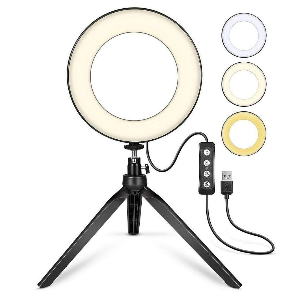 Makeup Camera Duneen Broadcast Live Photography LED Ring Light 6.3 with Tripod Stand for Vlog Photo Mini LED Camera Light with Cell Phone Holder Desktop LED Lamp Video