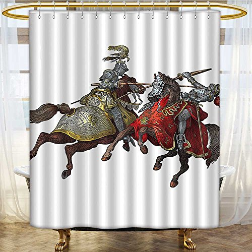 Shower Curtains Waterproof Middle Age Fighters Knights with