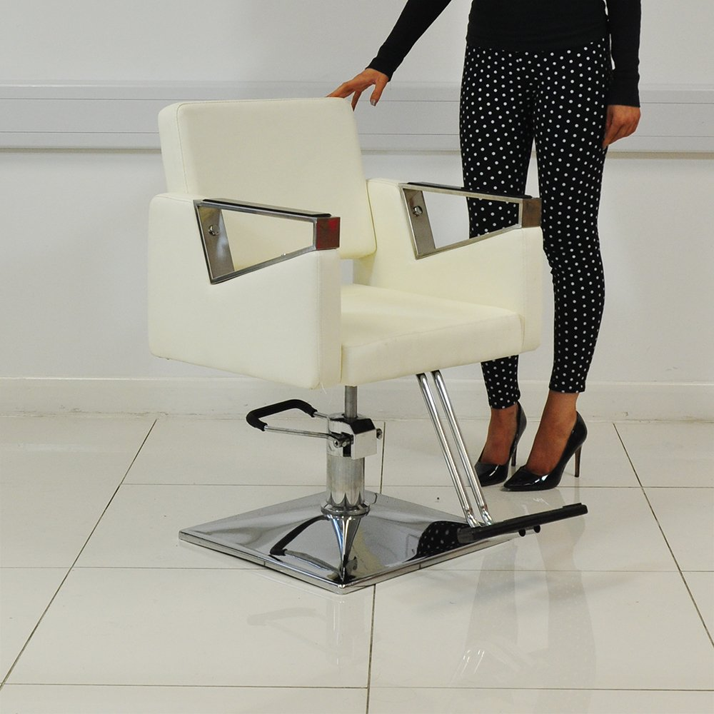 White Leather Style Hairdressing Hairdresser Barber Saloon Swivel Chair Beauty4Less
