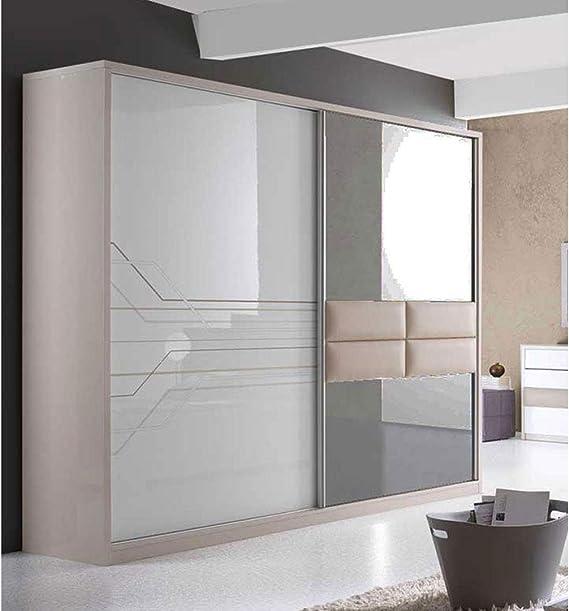 ITALIE FPM Thomas - Conjunto de Dormitorio Moderno con Armario, Cama 160/200 + 2 mesitas de Noche + tocador + Espejo: Amazon.es: Hogar