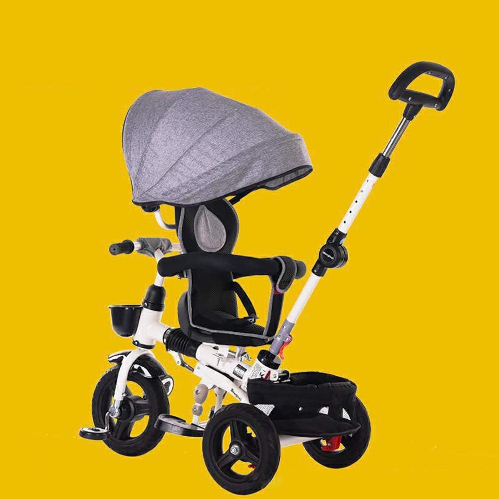 HJFGIRL 4 en 1 Triciclos Bebes 1 Año, Bicicletas Estaticas Plegable con Dosel Ajustable Extraíble Dirección Incorporada Peso del Rodamiento 25kg Adecuado para Niños de 1 a 6 Años.