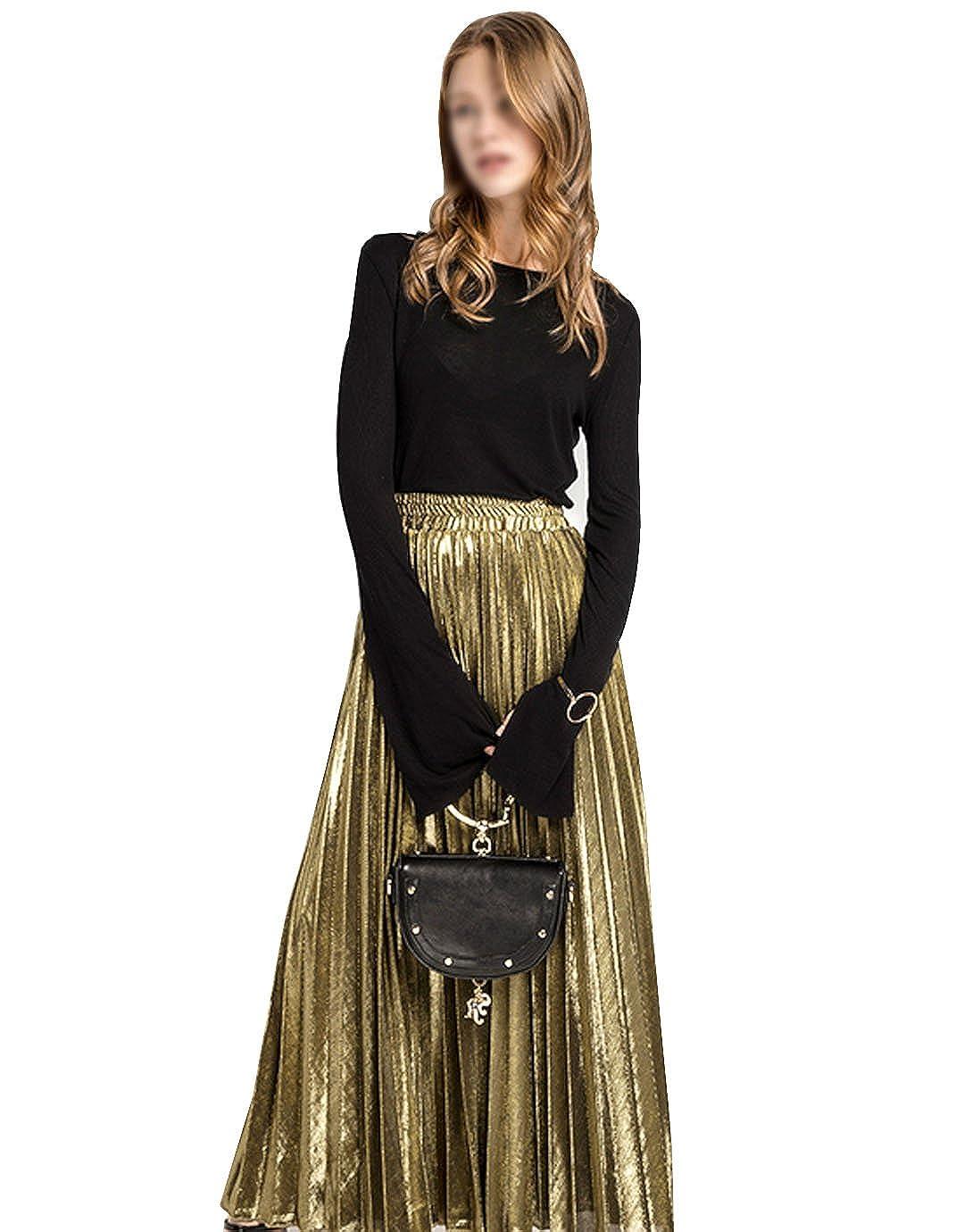 LA HAUTE Women Girls Metallic Pleated Skirt Summer Long Beach Skirt Luster Satin Party Midi Skirt, (UK8-14) Gold