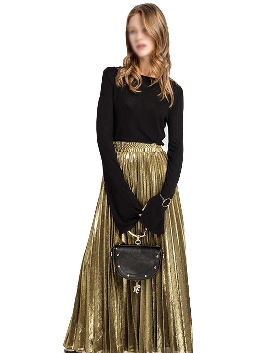 Sherry Skirts Women Summer Midi Skirt Metallic Elastic Long Pleated Skirt Shiny Shimmer A Line High Waist Skirts (Gold,L)
