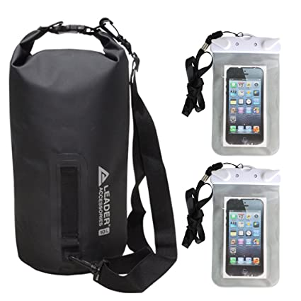 Leader Accessories Heavy Duty Vinyl Waterproof Dry Bag with 2 Waterproof  Phone Case Bags (black ff300cfe05892