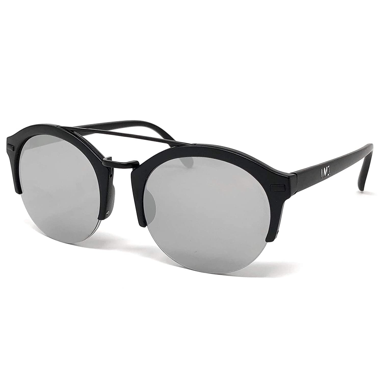 720fa14c3a77e Amazon.com  I M1 Matte Black Retro Semi-Rimless Round Frame in Silver  Mirror Lens  Sports   Outdoors