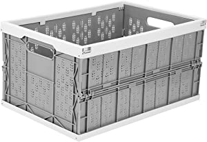 Livememory Collapsible Storage Basket Bins, Plastic Crates, Stackable Storage Box for Home, Laundry, Clothes(17.7X 12 x 9 inches)
